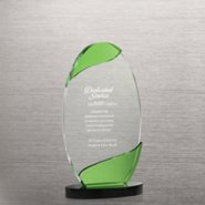 Color Wave Crystal Trophy - Green